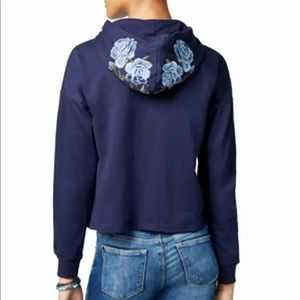 Ultra Flirt Embroidered Pull Over Hoodie Navy Blue